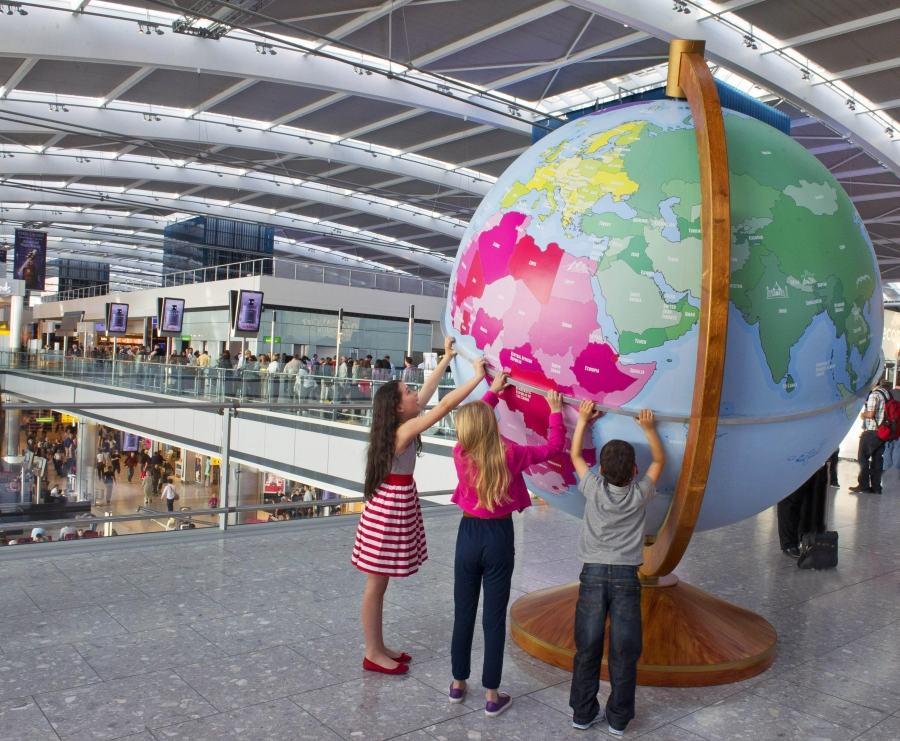 Giant globe at Heathrow Terminal 5