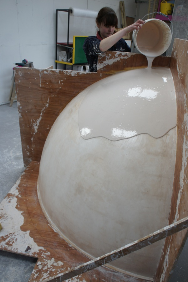 Making the moulds for the large globe