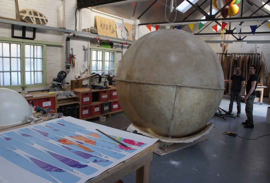 Globes in the making
