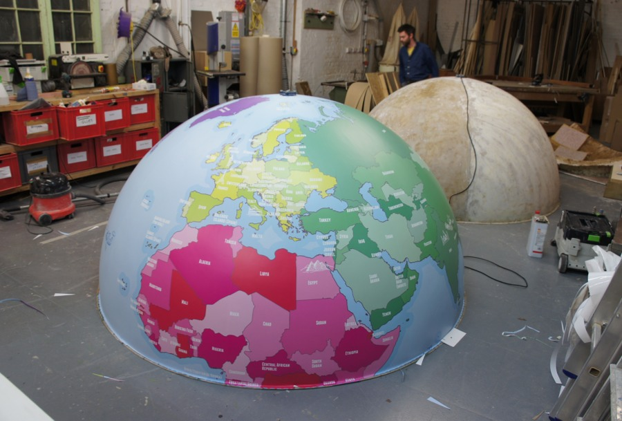 Half way there with the vinyl for the giant globe
