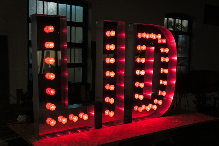 colourful light bulb letters