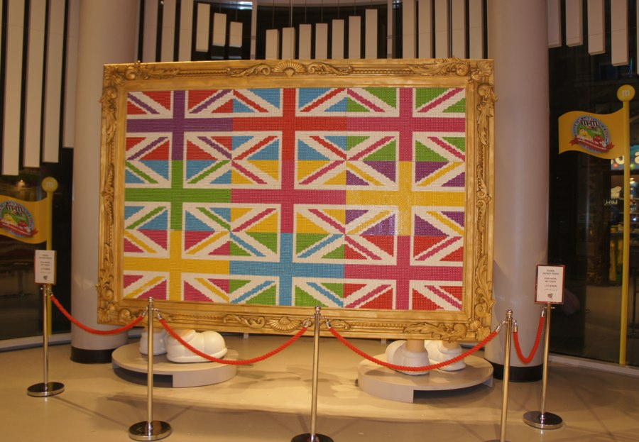 Union Jack frame on display in M&M store