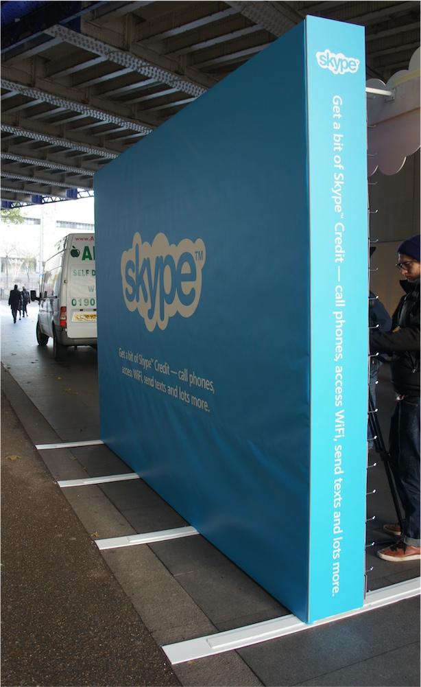 Skype slat wall display - rear banner