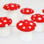Red and white polka dot stools