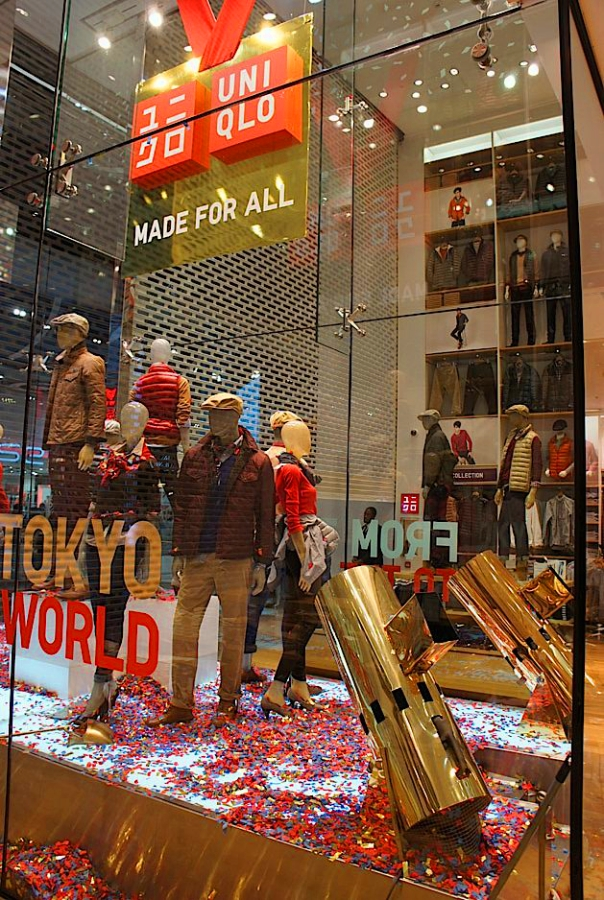 Uniqlo confetti cannon window display