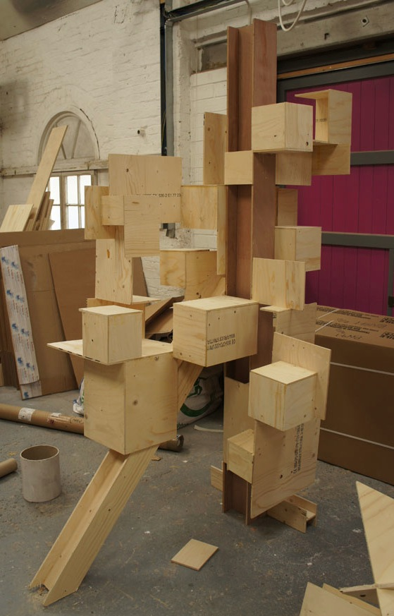 In the making - pseudo steel structures created out of recycled wood and cardboard