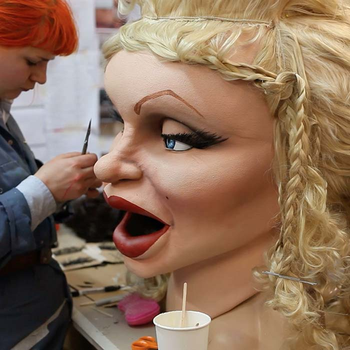 Costume makers of giant head masks for ITV Big Heads Marilyn Monroe