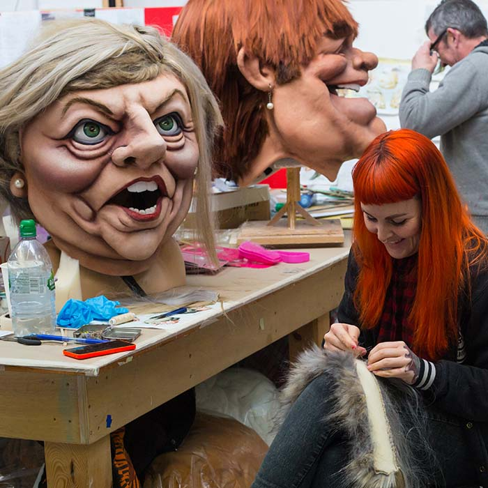 Caricature Head Wig Making process for ITV Big Heads