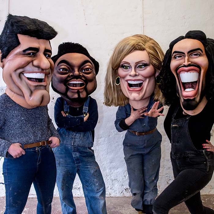 Caricature Head Costume of Simon Cowell, Will I AM, Adele, Russel Brand for ITV Big Heads