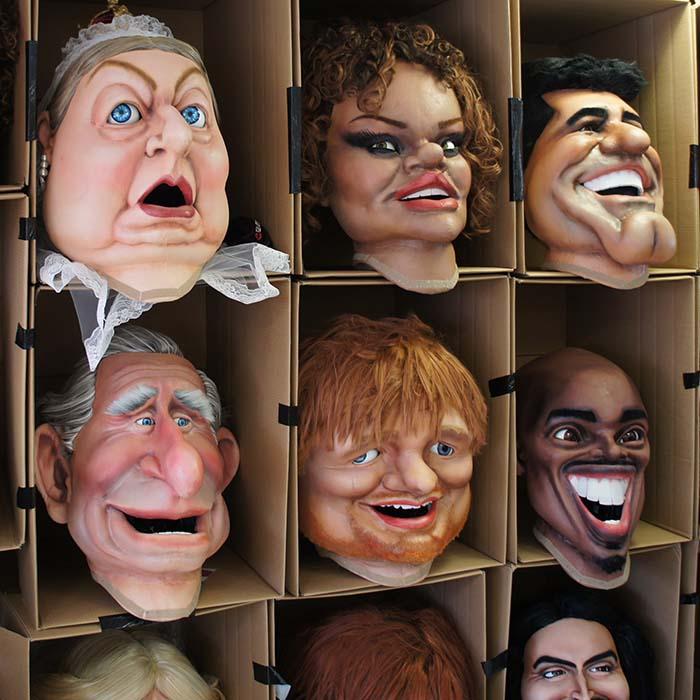 ITV Bigheads Costume Heads Queen Victoria, Rihanna, Simon Cowell, Prince Charles, Ed Sheeran, Mo Farah