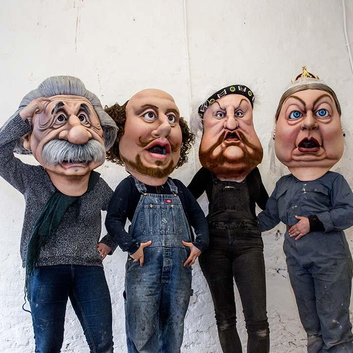 ITV Bigheads Costume Heads Shakespeare, Einstein, Queen Victoria, King Henry