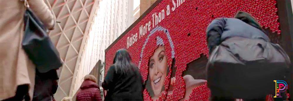 large interactive freestanding billboard for kings cross station