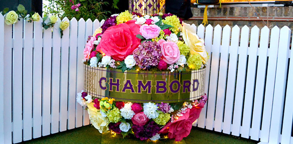 Flower covered Chambord bottle