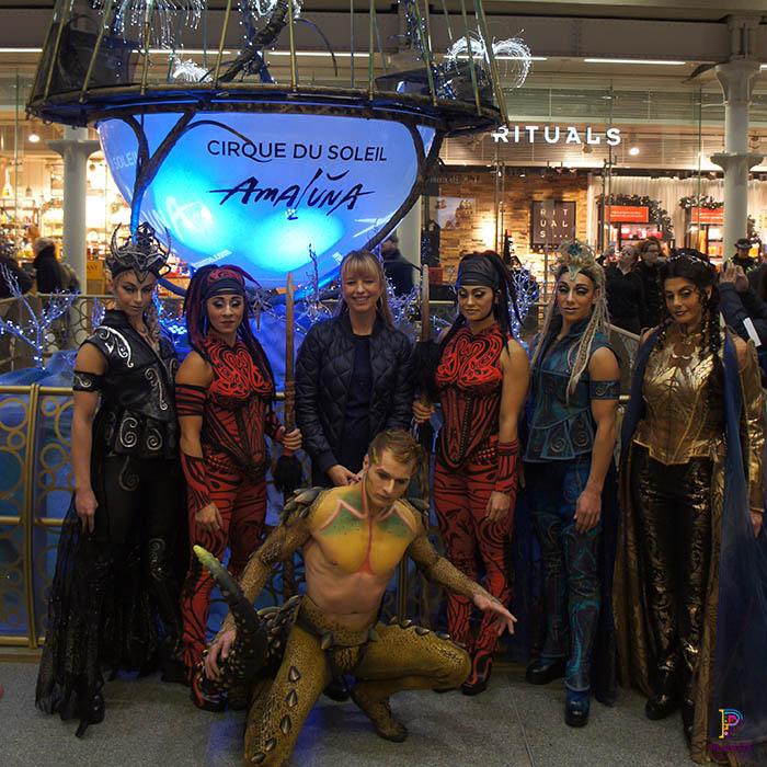 Cirque Du Soleil, Amaluna, and Sara Cox at King Cross Christmas Tree unveiling