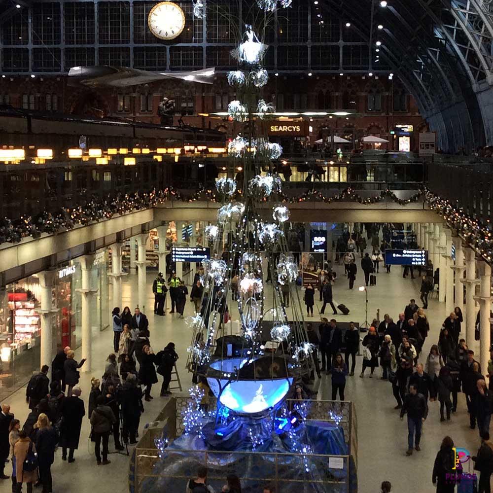 Interactive Christmas tree at Kings Cross Station