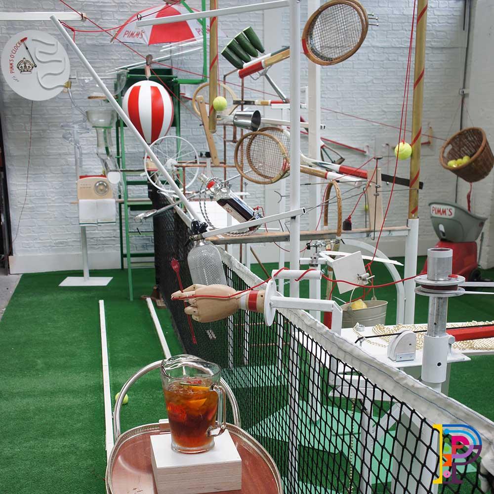 Tennis props for Wimbledon, Rube Goldberg machine