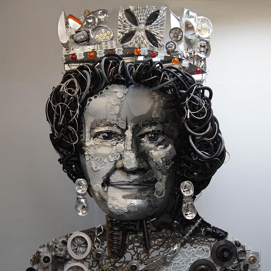 Car Part Sculpture of Queen Elizabeth II