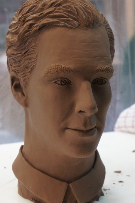 Chocolate food art sculpture of Benedict Cumberbatch