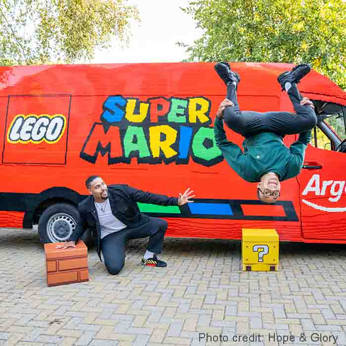 Delivery van covered in Lego Bricks