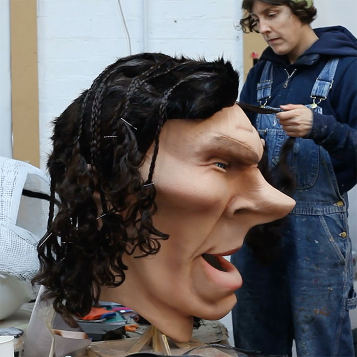 Caricature Head Costume of Benedict Cumberbatch for ITV Big Heads