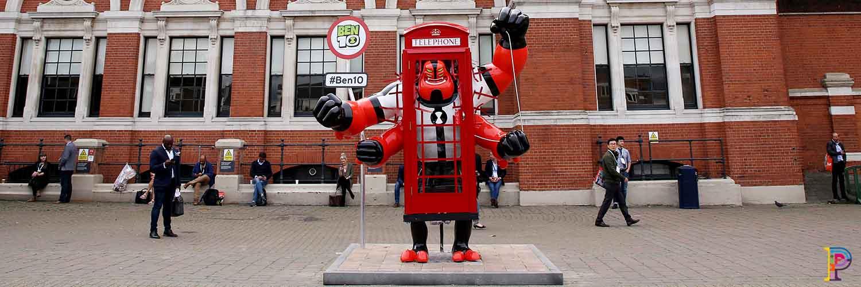 Cartoon Network fibreglass sculpture Ben 10 Four Arms on display outside Kensington Olympia