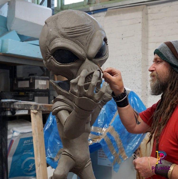 Alien clay games character sculpture