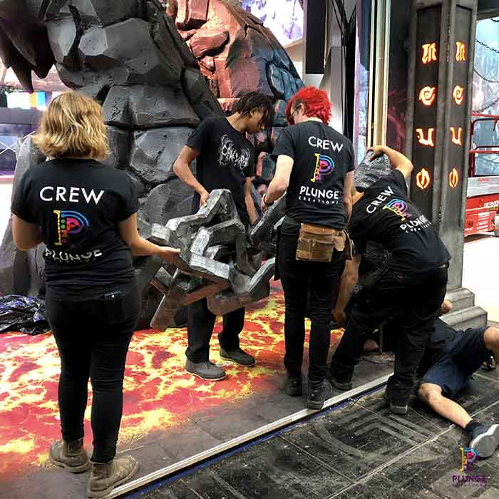 installation team at THQ Nordic Booth Gamescom