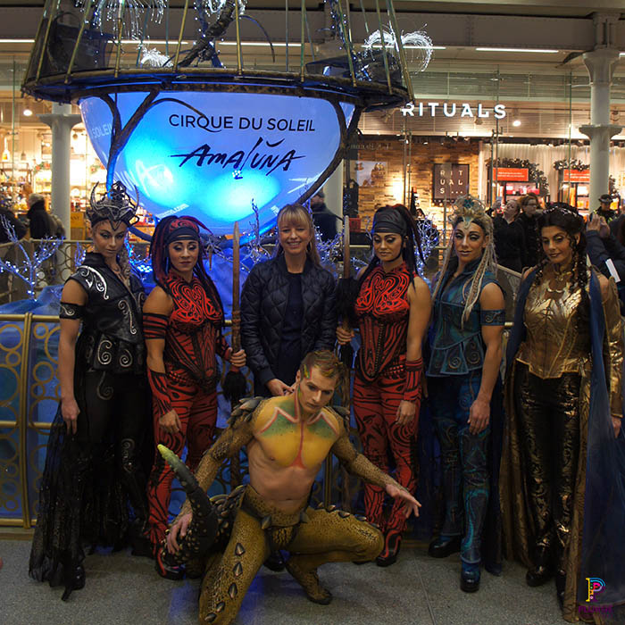Cirque Du Soleil, Amaluna, and Sara Cox at King Cross Christmas Tree unveiling