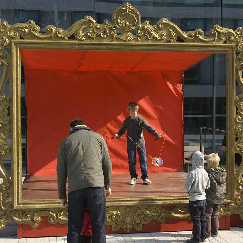 Giant swept gold frame stage
