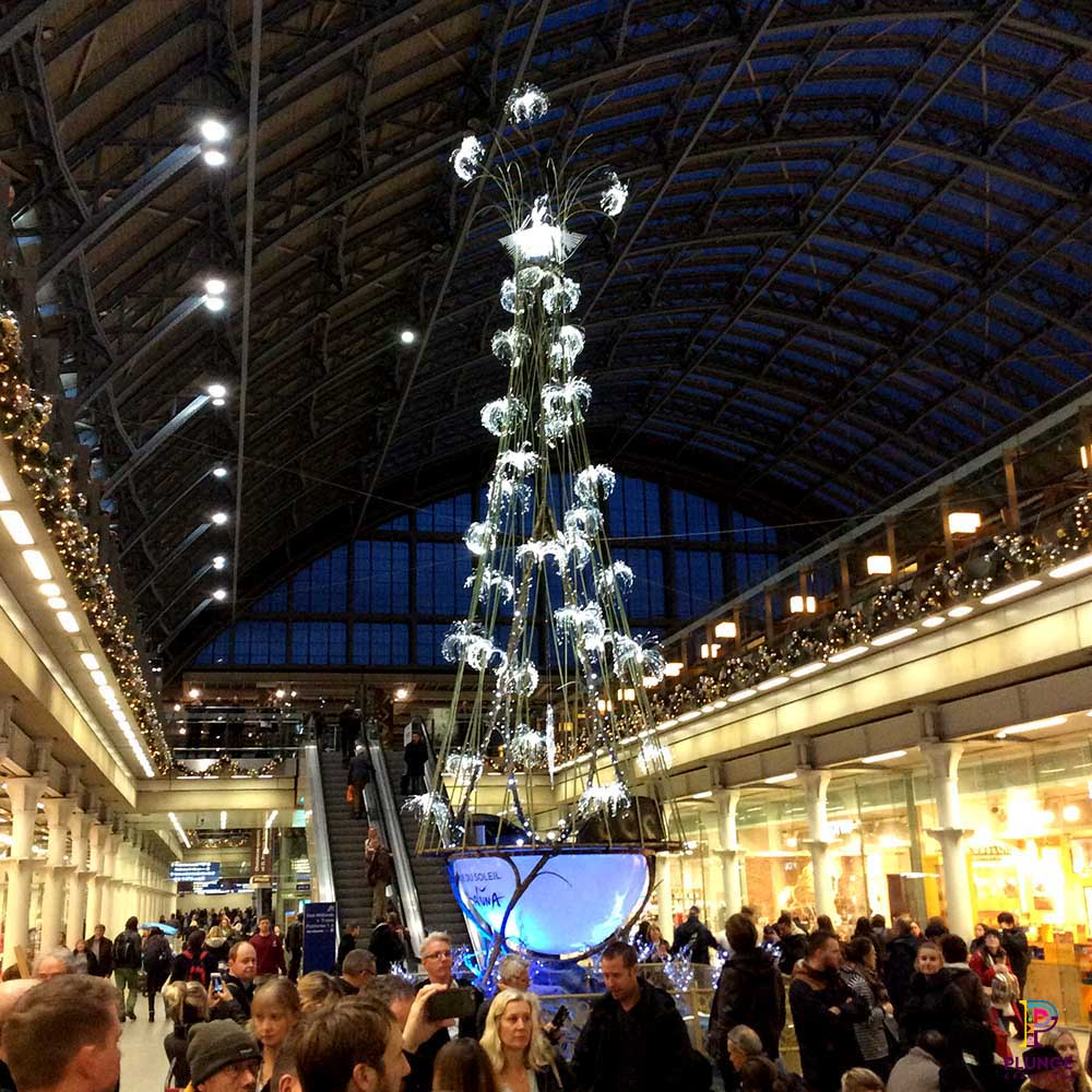 Giant Christmas Tree at Kings Cross Station