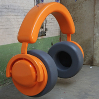 Giant headphones for DJ booth