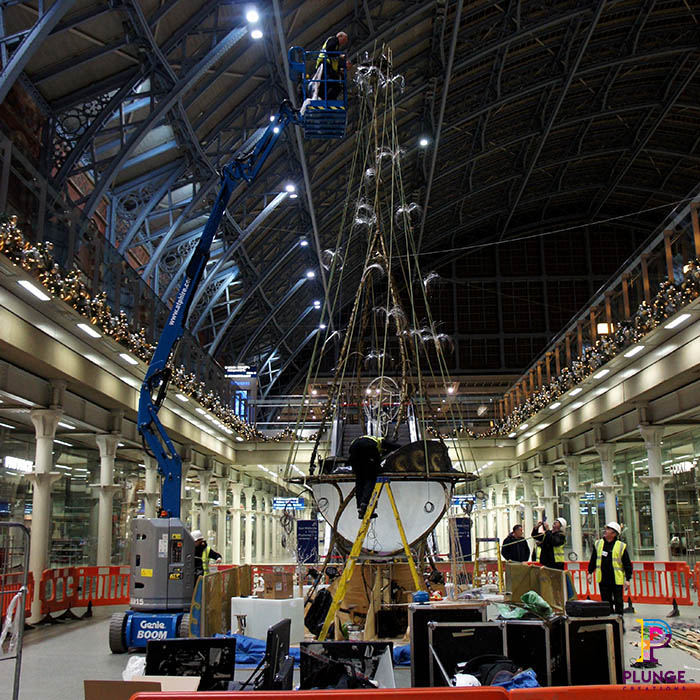 Kings Cross Station Christmas Tree Installation Team on site