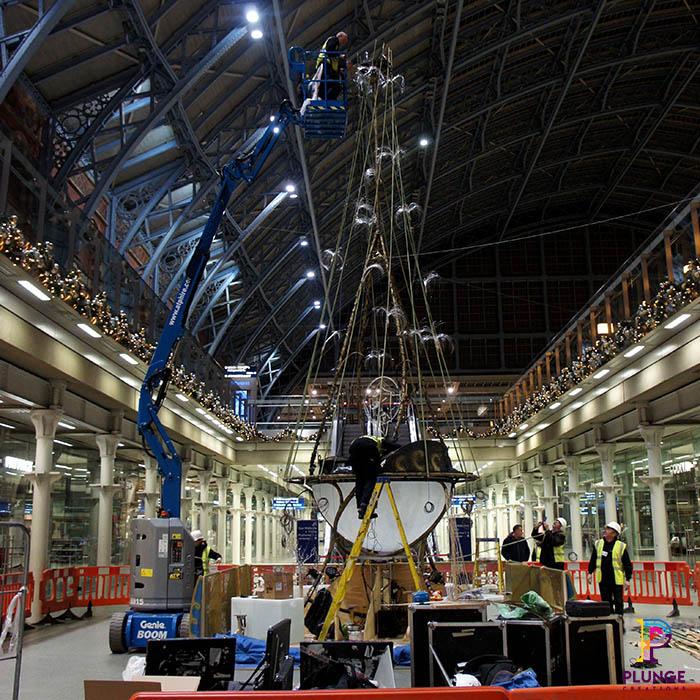 Kings Cross Station Christmas Tree Installation Team on site