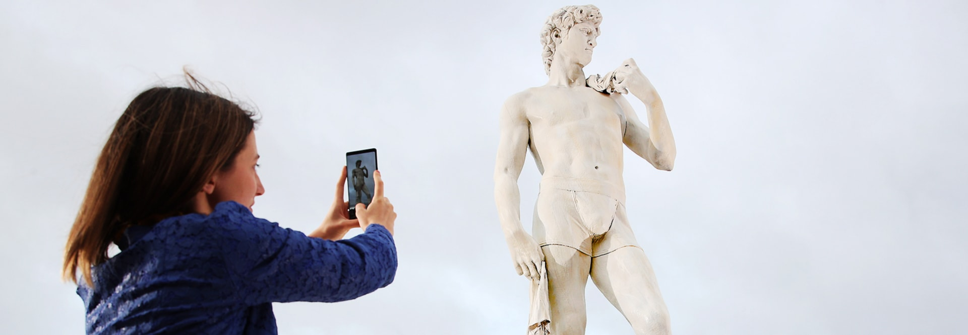 Replica of Michelangelo's David with a modern twist