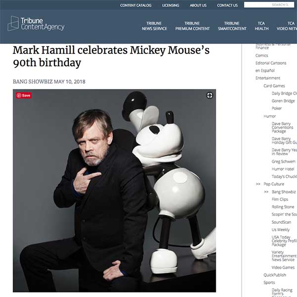 Steamboat Mickey fibreglass sculpture poses with Mark Hamill