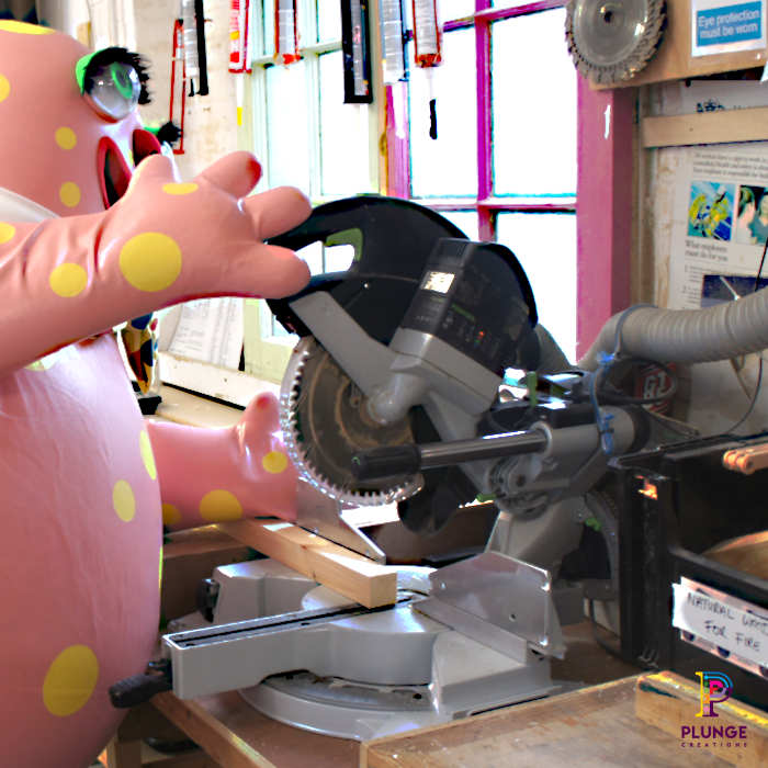 Mr-Blobby-costume-workshop-chop-saw