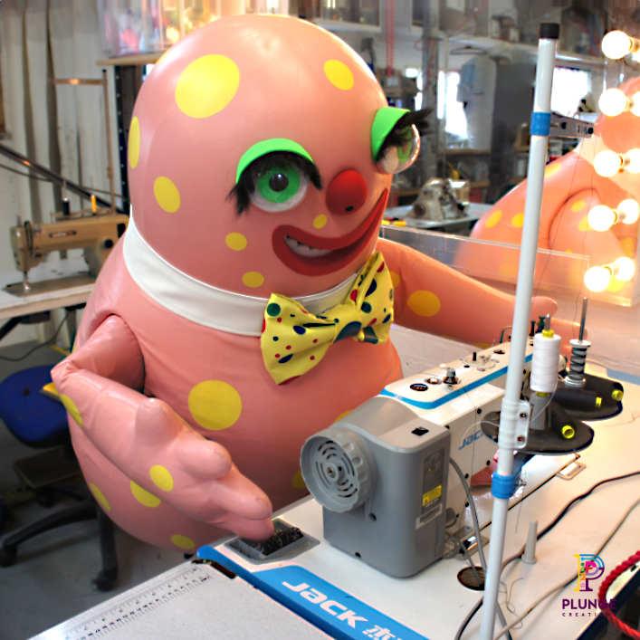 Mr-Blobby-costume-workshop-sewing-machine