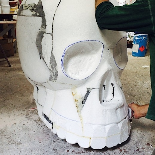 Sugar skull carved into polystyrene