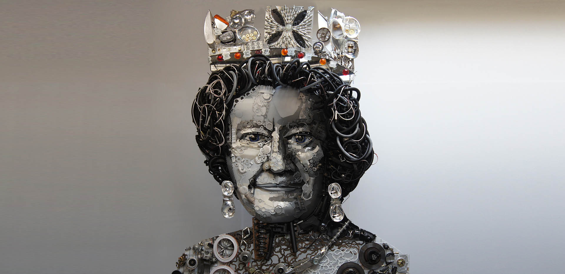 Car Part Sculpture of Queen Elizabeth II