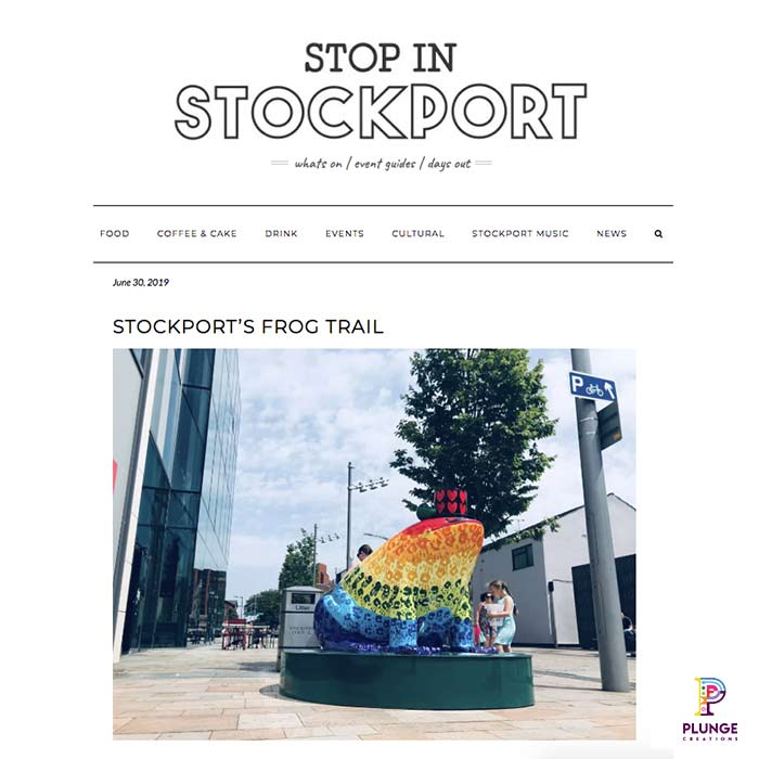 Stockports Frog Art Trail Fibreglass sculptures
