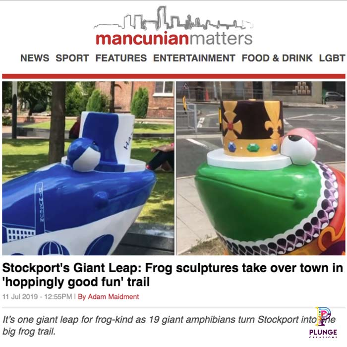 Stockport's Giant Leap Frog Sculptures