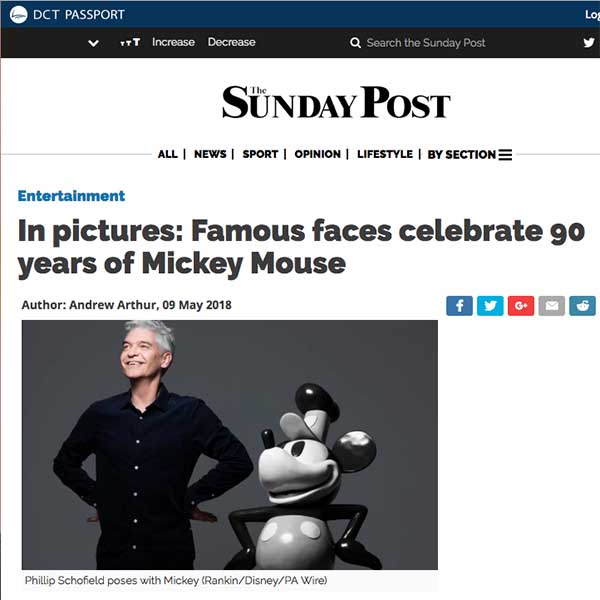 Philip Schofield Steamboat Mickey Mouse sculpture