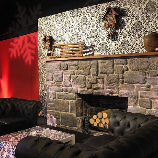 A giant fireplace prop for chelsea marquee xmas 2010.