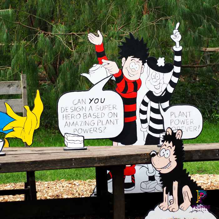 Kew Beano Dennis, Gnasher and Minnie the Minx outdoor props