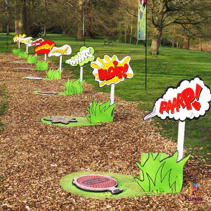 Kew Beano Whoopee Cushion and Signs outdoor props