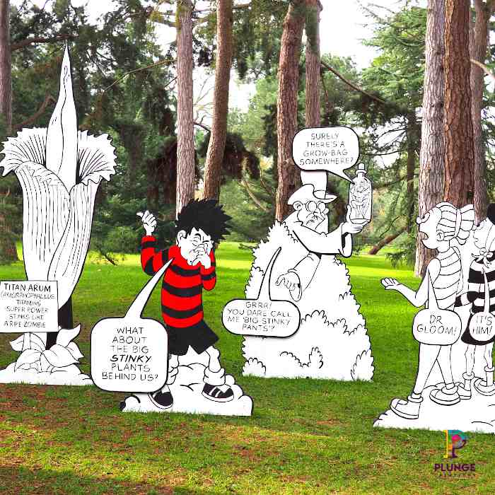 Kew Beano Dennis and Dr Gloom outdoor props