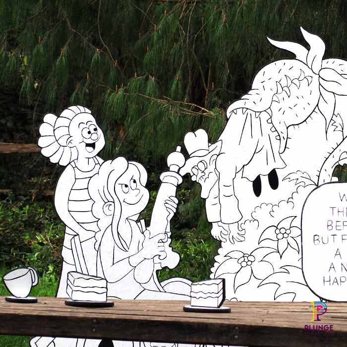 Kew Beano Minnie and Dr Gloom outdoor props