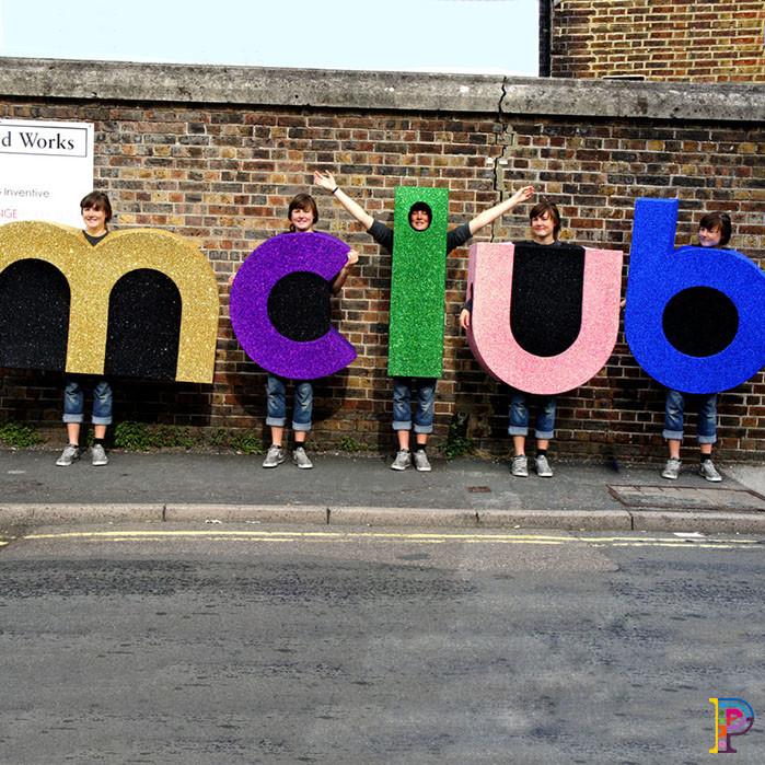 MClub glitter letter costumes