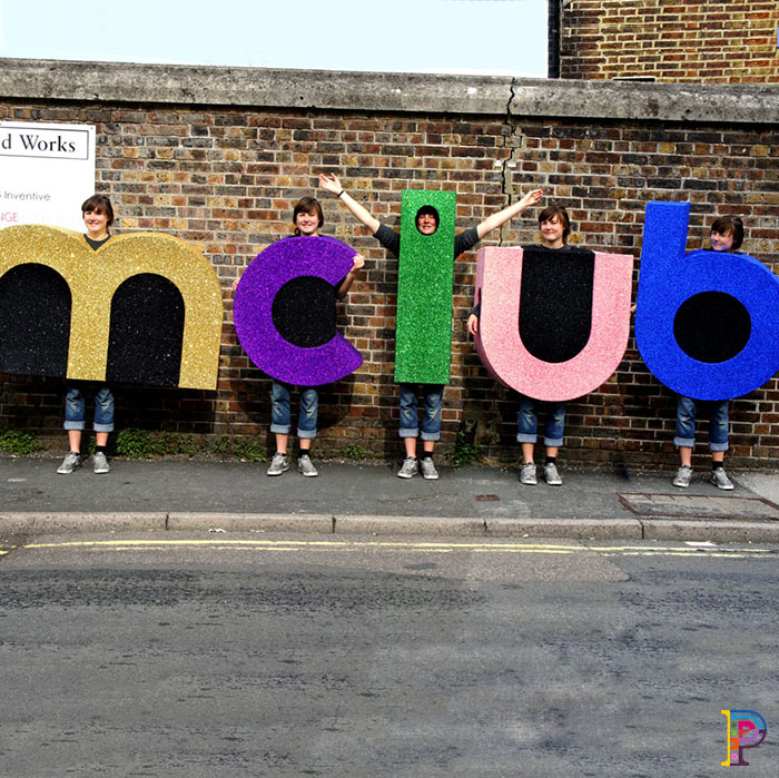 MClub glitter letter costumes