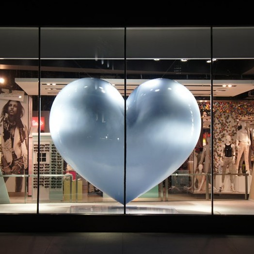 Giant blue Fibreglass Heart for Top Shop Window